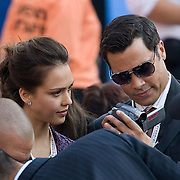 Actress Jessica Alba and husband Cash Warren on the fourth day of the Democratic National Committee (DNC) Convention at Invesco Field in Denver, Colorado (CO), Thursday, Aug. 28, 2008.  ..Photo by Khue Bui