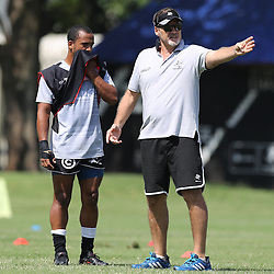 Rhyno Smith with Robert du Preez (Head Coach) of the Cell C Sharks during The Cell C Sharks High CNS Rugby / Skills / Field Conditioning KP2, session at Growthpoint Kings Park in Durban, South Africa. December 9th December 2016 (Photo by Steve Haag)<br /> <br /> images for social media must have consent from Steve Haag