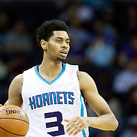 03 November 2015: Charlotte Hornets guard Jeremy Lamb (3) brings the ball up court during the Charlotte Hornets  130-105 victory over the Chicago Bulls, at the Time Warner Cable Arena, in Charlotte, North Carolina, USA.