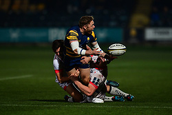 Luke Baldwin of Worcester Warriors offloads despite the tackle from the Sale Sharks - Mandatory by-line: Craig Thomas/JMP - 03/11/2017 - RUGBY - Sixways Stadium - Worcester, England - Worcester Warriors v Sale Sharks - Anglo Welsh Cup