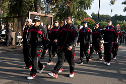 Nov 12, 2011; Stanford CA, USA;  The Stanford Cardinal football team enters Stanford Stadium before the game against the Oregon Ducks.  Oregon defeated Stanford 53-30. Mandatory Credit: Jason O. Watson-US PRESSWIRE