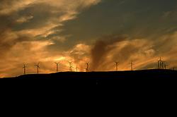 Basilicata, Italy - The wind energy at sunset.