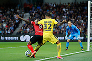 Daniel Alves da Silva (PSG), Razza CAMARA (En Avant De Guingamp), Karl-Johan JOHNSSON (En Avant De Guingamp) during the French championship L1 football match between EA Guingamp v Paris Saint-Germain, on August 13, 2017 at the Roudourou stadium in Guingamp, France - Photo Stephane Allaman / ProSportsImages / DPPI