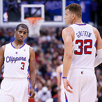 25 October 2013: Los Angeles Clippers point guard Chris Paul (3) is seen next to Los Angeles Clippers power forward Blake Griffin (32) during the Sacramento Kings 110-100 victory over the Los Angeles Clippers at the Staples Center, Los Angeles, California, USA.