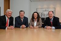 21 MAY 2007, BERLIN/GERMANY:<br /> Frank-Walter Steinmeier, SPD, Bundesaussenminister, Kurt Beck, SPD Parteivorsitzender, Andrea Nahles, MdB, SPD, Vorsitzende des Forums Demokratische Linke 21, Peer Steinbrueck, SPD, Bundesfinanzminister, (v.L.n.R.), vor einem gemeinsamen Gespraech, vor der Vorstellung der drei Kandidaten fuer den Posten des Stellvertretenden Parteivorsitzenden in den SPD-Gremien durch Beck, Buero des Parteivorsitzenden, Willy-Brandt-Haus<br /> IMAGE: 20070521-01-022<br /> KEYWORDS: Peer Steinbrück, Stellvertreter, Gruppe, Gruppenfoto, Gruppenbild, Gespräch