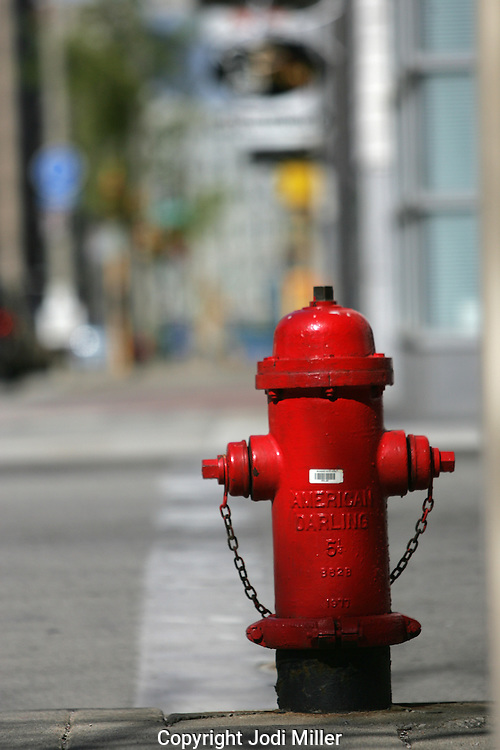 A red America Darling fire hydrant in downtown Milwaukee.