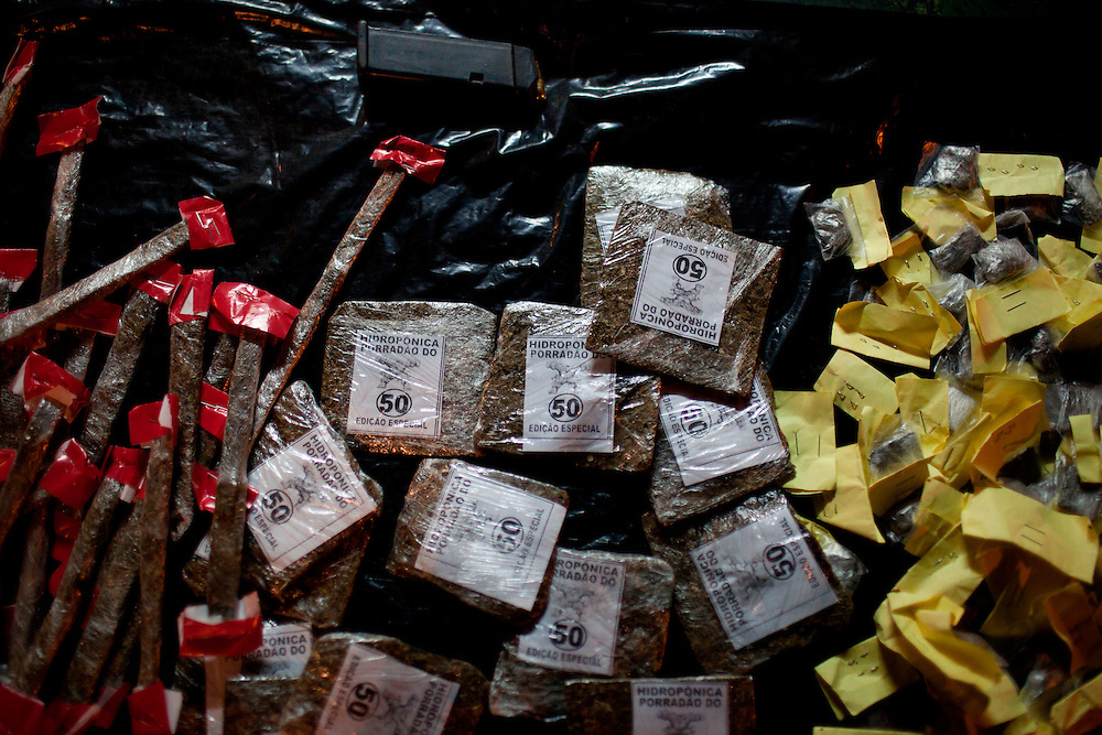 Marijuana packages are seen at a drug selling point where crack is no longer for sale in the Mandela slum in Rio de Janeiro, Brazil, Aug.  7, 2012. <br /> <br />  The South American country began experiencing a public health emergency in recent years as demand for crack boomed and open-air &quot;cracolandias,&quot; or crack lands, popped up in the sprawling urban centers of Rio and Sao Paulo, with hundreds of users gathering to smoke the drug. The federal government announced in early 2012 that more than $2 billion would be spent to fight the epidemic, with the money spent to train local health care workers, purchase thousands of hospital and shelter beds for emergency treatment, and create transitional centers for recovering users.