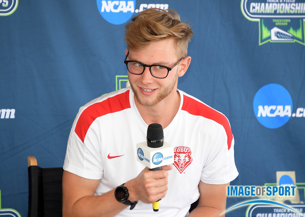 Josh Kerr of New Mexico during a press conference prior to the NCAA Track and Field championships in Eugene, Ore., Tuesday, June 5, 2018.