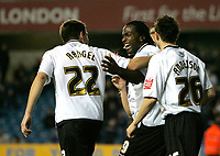 Photo: Tom Dulat/Sportsbeat Images.<br /> <br /> Millwall v Swansea City. Coca Cola League 1. 06/11/2007. Jason Scotland(middle) of Swansea City celebrates his opener together with his team mates Paul Anderson(R) and Angel Randel(L) Swansea City leads 1-0