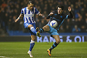 Brighton defender, full back, Liam Rosenior (23) tackles Sheffield Wednesday's Kieran Lee during the Sky Bet Championship match between Brighton and Hove Albion and Sheffield Wednesday at the American Express Community Stadium, Brighton and Hove, England on 8 March 2016. Photo by Phil Duncan.