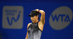 WUHAN, Sept. 27, 2017 Caroline Garcia of France reacts during the singles third round match against Dominika Cibulkova of Slovakia at 2017 WTA Wuhan Open in Wuhan, capital of central China's Hubei Province, on Sept. 27, 2017. Caroline Garcia won 2-0.  wdz) (Credit Image: © Cheng Min/Xinhua via ZUMA Wire)