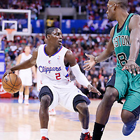 08 January 2014: Los Angeles Clippers point guard Darren Collison (2) dribbles during the Los Angeles Clippers 111-105 victory over the Boston Celtics at the Staples Center, Los Angeles, California, USA.