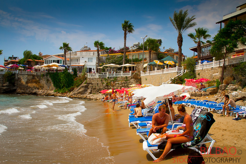 Local beach and tourists.Side. Province of Antalya. Mediterranean coast. Turkey