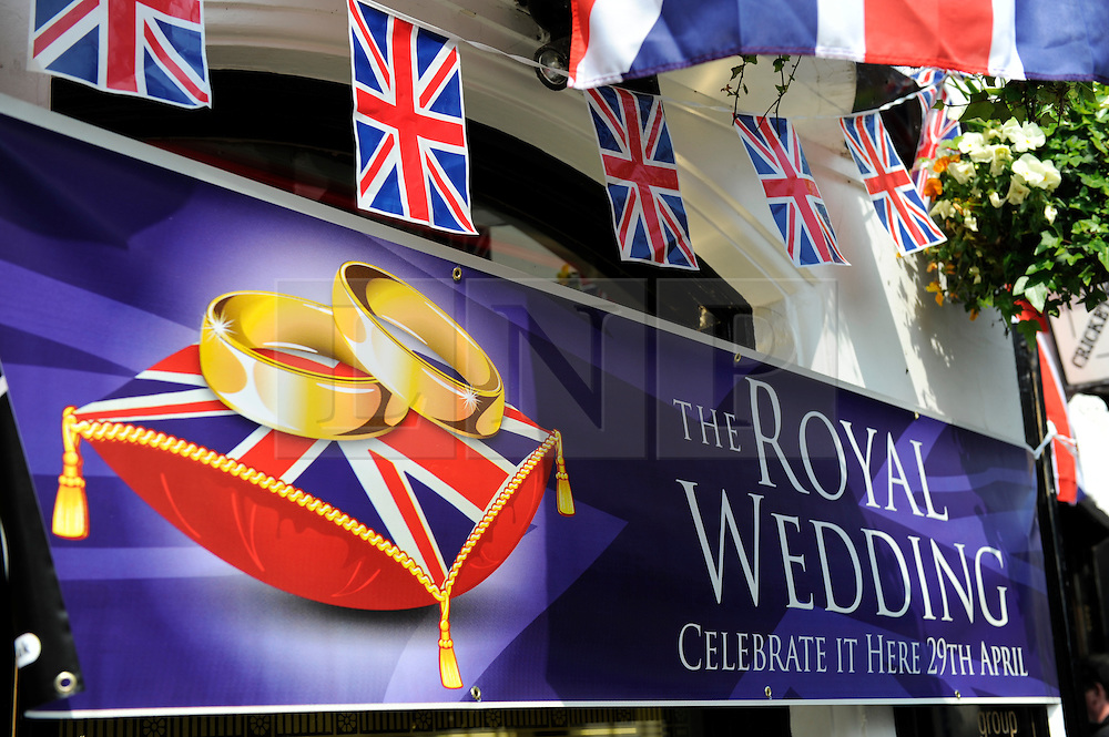 Brighton, UK. 29/04/2011. The Royal Wedding of HRH Prince William to Kate Middleton. Celebratory poster at the Cricketers Public House in Brighton. Photo credit should read: Peter Webb/LNP. Please see special instructions for licensing information. © under license to London News Pictures