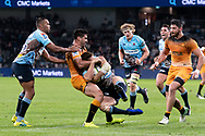 SYDNEY, AUSTRALIA - MAY 25: Waratahs player Alex Newsome (14) taken in a tackle by Jaguares player Jeronimo De La Fuente (12) at week 15 of Super Rugby between NSW Waratahs and Jaguares on May 25, 2019 at Western Sydney Stadium in NSW, Australia. (Photo by Speed Media/Icon Sportswire)
