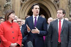 Newest Labour MP's arrive at the House of Commons. (L to R) Lucy Powell MP, Ed Miliband MP, Leader of the Labour party and Stephen Doughty MP, outside St Stephen's Gate, November 19, 2012. Westminster, London, Great Britain. Photo by Elliott Franks / i-Images.
