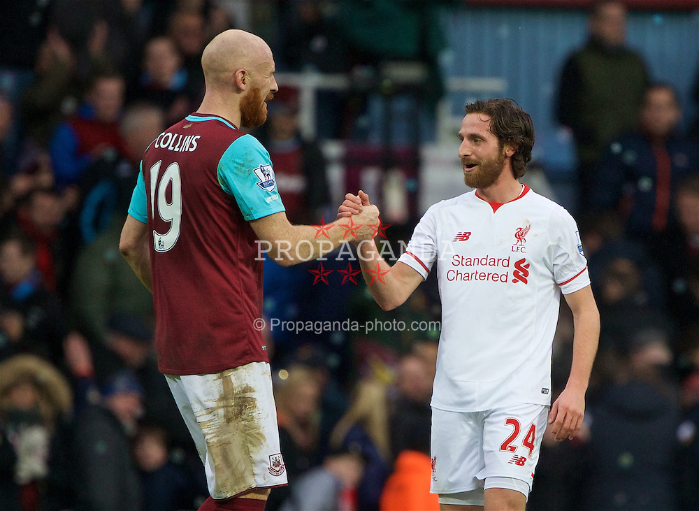 LONDON, ENGLAND - Saturday, January 2, 2016: Liverpool's Joe Allen shakes hands with Wales international team-mate James Collins as his side lose 2-0 after the Premier League match at Upton Park. (Pic by David Rawcliffe/Propaganda)