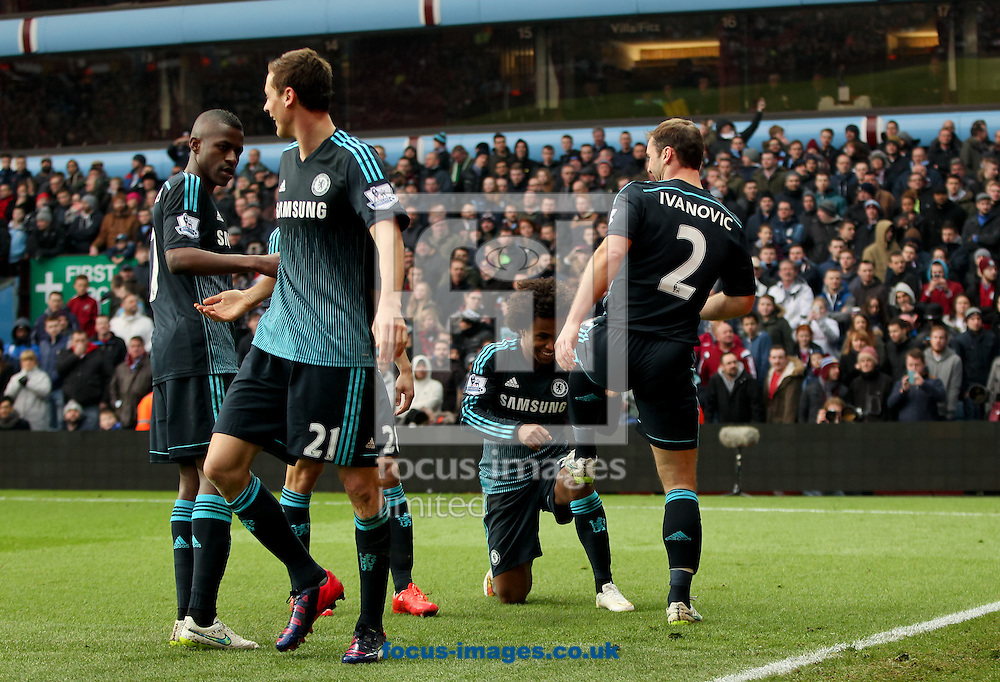 Branislav Ivanović (right) of Chelsea celebrates scoring his sides second goal with his team mates during the Barclays Premier League match at Villa Park, Birmingham<br /> Picture by Tom Smith/Focus Images Ltd 07545141164<br /> 07/02/2015