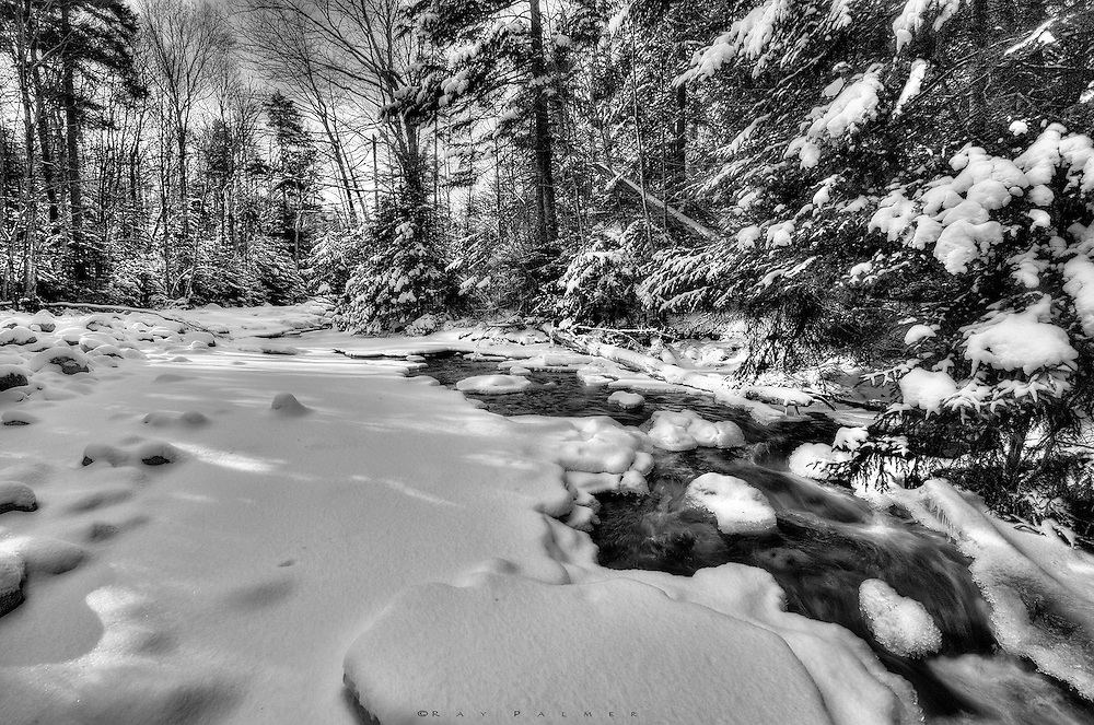 Marcy Brook is channelling winter water, weaving it through the flatter sections here after a long tumble down from Indian Falls.   Summer water is more subtle;  wet leaves, damp ground, earth smells.  A white noise keeps you in touch from the trail.  The sound of winter water is dampened, perhaps more sluggish from the cold.  It moves to keep from freezing, but adds to the ice a molecule at a time.  The banks will grow out and the islands will grow in until they meet and seal the stream's fate. Winter water will become a gurgle underfoot.   Lacking the hiss of rainfall, snowfall  is silent, and bolder as it builds to cover these scenes we know with a whole new look.  Both have their charms;  I am stuck with the water I am dealt.  I drink it in.