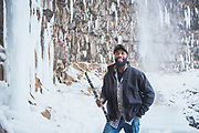 Will Smith playing the clarinet during winter in the Snake River Canyon, Twin Falls, Idaho.