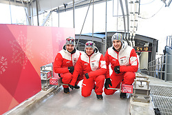 05.02.2018, Olympic Sliding Centre, Pyeongchang, KOR, PyeongChang 2018, Vorberichte, im Bild v.l.David Gleirscher, Wolfgang Kindl und Reinhard Egger // v.l.David Gleirscher, Wolfgang Kindl und Reinhard Egger during a preliminary reports ahead of the opening of the Pyeongchang 2018 Winter Olympic Games at the Olympic Sliding Centre in Pyeongchang, South Korea on 2018/02/05. EXPA Pictures © 2018, PhotoCredit: EXPA/ Erich Spiess