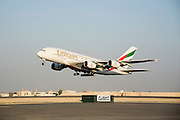 Dubai 2005, 9th International Aerospace Exhibition..First appearance of the new Airbus A380 in the Middle East and in the livery of its biggest buyer Emirates Airlines (45 planes ordered to date)..Takeoff for the flying display.