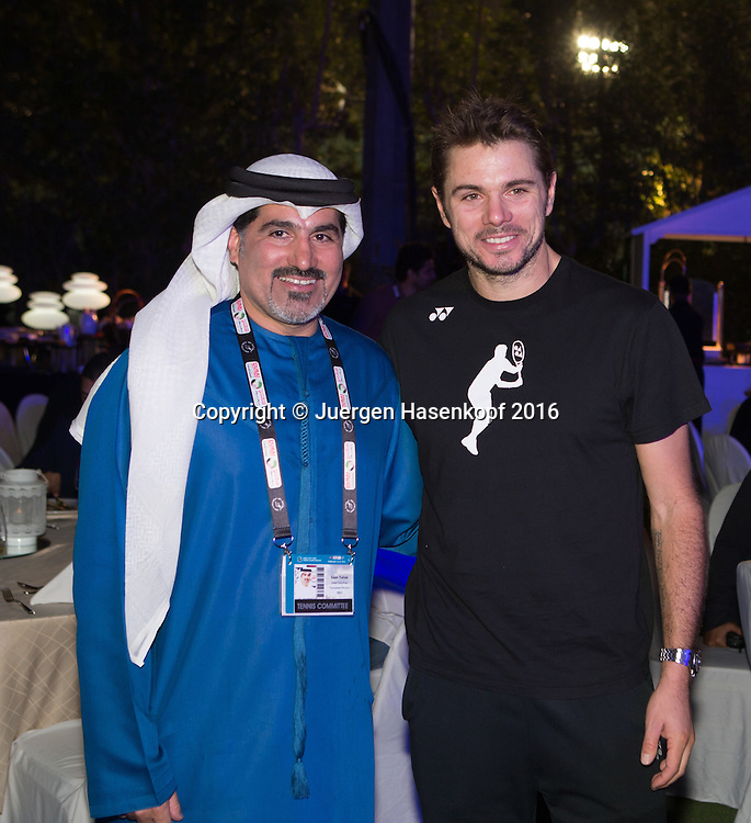 Dubai ATP Players Party, Stan Wawrinka (SUI) und Turnier Direktor Salah Tahlak,<br /> <br /> Tennis - Dubai Duty Free Tennis Championships - ATP -   - Dubai -  - United Arab Emirates  - 23 February 2016. <br /> &copy; Juergen Hasenkopf