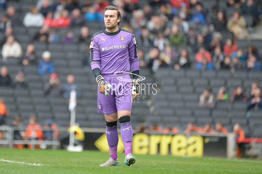 Rotherham Goalkeeper Lee Camp during the Sky Bet Championship match between Milton Keynes Dons and Rotherham United at stadium:mk, Milton Keynes, England on 9 April 2016. Photo by Dennis Goodwin.