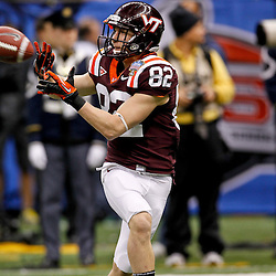 January 3, 2012; New Orleans, LA, USA; Virginia Tech Hokies wide receiver Willie Byrn (82) against the Michigan Wolverines prior to kickoff of the Sugar Bowl at the Mercedes-Benz Superdome.  Mandatory Credit: Derick E. Hingle-US PRESSWIRE