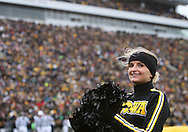 08 NOVEMBER 2008: An Iowa cheerleader in the first half of an NCAA college football game against Penn State, at Kinnick Stadium in Iowa City, Iowa on Saturday Nov. 8, 2008. Iowa beat Penn State 24-23.