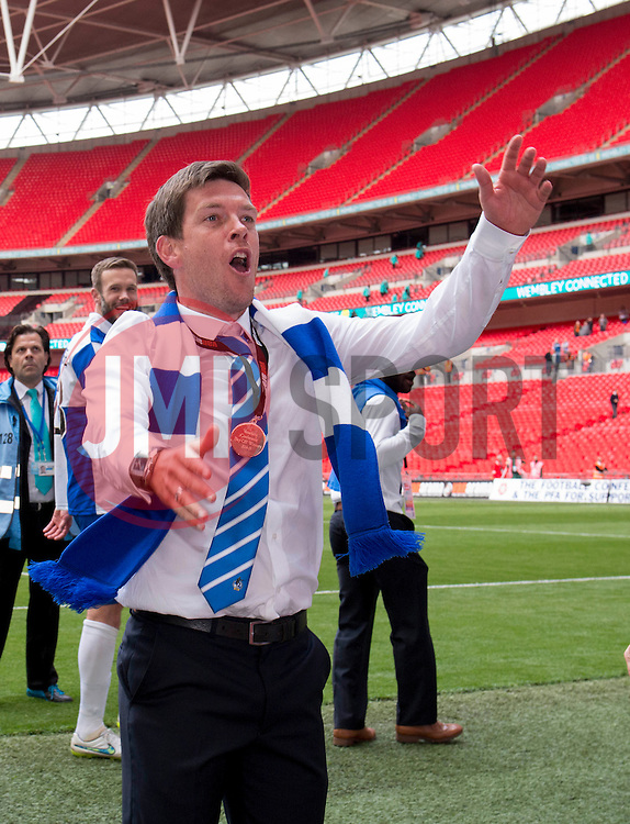 Bristol Rovers Manager, Darrell Clarke celebrates in front of the Bristol Rovers fans - Photo mandatory by-line: Dougie Allward/JMP - Mobile: 07966 386802 - 17/05/2015 - SPORT - football - London - Wembley Stadium - Bristol Rovers v Grimsby Town - Vanarama Conference Football