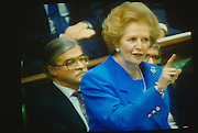 Prime Minister Margaret Thatcher seen on TV wagging a finger during exchanges at the dispatch box with Labour opposition.