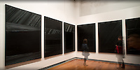 "LYON, FRANCE - NOVEMBER 02: Soulages, 21th century..Exhibition dedicated to the french painter Pierre Soulages, .pictured in Lyon, France on November 01, 2012...The preferred series of Pierre Soulages. If he has to keep just one, this is it...You must have all the necessary authorizations from the ""Musee des Beaux Arts"" in Lyon before to use one or more of these images. 33 ??(0) 4.72.10.17.40.Vous devez demander les autorisations nécessaires auprès du Musée des Beaux Arts de Lyon avant de pouvoir utiliser une ou plusieurs de ces images..MBA: 33 (0)4.72.10.17.40"