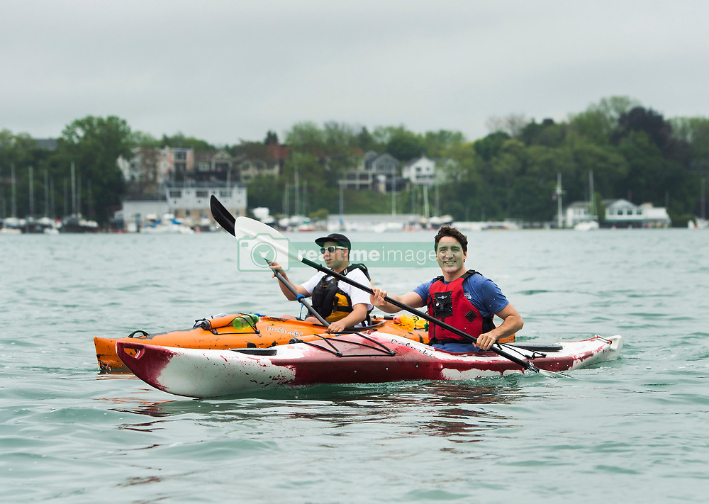 Prime Minister Justin Trudeau (right) kayaks on the Niagara River in Niagara-on-the Lake, Ont., on Monday, June 5, 2017. Trudeau was promoting World Environment Day. Photo by Nathan Denette/CP/ABACAPRESS.COM