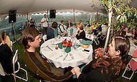 """Shane Condor and Lauren Darcey are among the 75 guests welcomed by manager Rob Stephens of Moulton Farm for a very special """"Taste of the Farm"""" dinner Tuesday evening.  (Karen Bobotas/for the Laconia Daily Sun)"""
