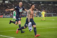 joie des joueurs Parisiens apres le but de Ezequiel Lavezzi (PSG)