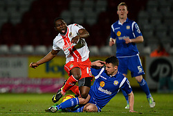 Stevenage's Francois Zoko  and Crewe Alexandra's Vadaine Oliver compete for the ball - Photo mandatory by-line: Mitchell Gunn/JMP - Tel: Mobile: 07966 386802 22/02/2014 - SPORT - FOOTBALL - Broadhall Way - Stevenage - Stevenage v Crewe Alexandra - League One