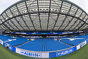 General view of the East Stand at the American Express Community Stadium ahead of the FA Women's Super League match between Brighton and Hove Albion Women and Birmingham City Women at the American Express Community Stadium, Brighton and Hove, England on 17 November 2019.