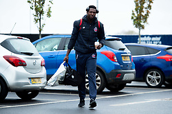 Daniel Edozie of Bristol Flyers heads towards the bus before leaving the Village Hotel to travel to Worcester Wolves - Photo mandatory by-line: Ryan Hiscott/JMP - 01/11/2019 - BASKETBALL - University of Worcester - Bristol, England - Worcester Wolves v Bristol Flyers - British Basketball League Cup