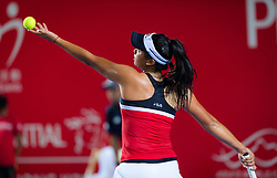 October 9, 2018 - Priscilla Hon of Australia in action during her first-round match at the 2018 Prudential Hong Kong Tennis Open WTA International tennis tournament (Credit Image: © AFP7 via ZUMA Wire)