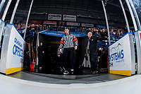 KELOWNA, CANADA - FEBRUARY 7: Referee Marc Pearce walks to the ice at the start of the game between the Vancouver Giants and the Kelowna Rockets on February 7, 2018 at Prospera Place in Kelowna, British Columbia, Canada.  (Photo by Marissa Baecker/Shoot the Breeze)  *** Local Caption ***