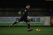 AFC Wimbledon goalkeeper Joe McDonnell (24) during the EFL Trophy match between AFC Wimbledon and U23 Brighton and Hove Albion at the Cherry Red Records Stadium, Kingston, England on 6 December 2016.