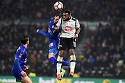 Leicester City defender Christian Fuchs (28) battles with Derby County forward Darren Bent (11) in the air during the The FA Cup match between Derby County and Leicester City at the Pride Park, Derby, England on 27 January 2017. Photo by Jon Hobley.