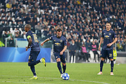 Manchester United Midfielder Juan Mata shoots from free kick and scores a goal 1-1 during the Champions League Group H match between Juventus FC and Manchester United at the Allianz Stadium, Turin, Italy on 7 November 2018.