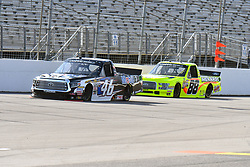 June 22, 2018 - Madison, Illinois, U.S. - MADISON, IL - JUNE 22:  Christian Eckes (46) driving a Toyota for Mobil 1 and Matt Crafton (88) driving a Ford for Menards take some practice laps before  the Camping World Truck Series - Eaton 200 on June 22, 2018, at Gateway Motorsports Park, Madison, IL.   (Photo by Keith Gillett/Icon Sportswire) (Credit Image: © Keith Gillett/Icon SMI via ZUMA Press)