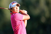 TIFFANY JOH tees off on the 18th hole at the LPGA Championship at Monroe Golf Club in Pittsford, New York on August 17, 2014.