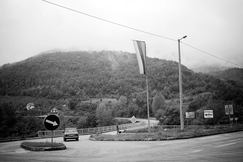 BiH, Ustipraca, 2009. Flag of the Republic of Srpska marking territory