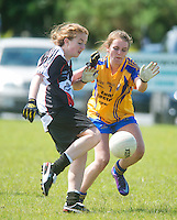 Clare's Shauna Melican and Sligo's Caron Griffin in the All ireland U14 C championship final in Kilkerrin-Galway Photo: Andrew Downes..