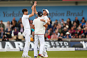 England & Middlesex bowler Steven Finn  celebrates the wicket of Sri Lanka Dushmantha Chameera   during day 3 of the first Investec Test Series 2016 match between England and Sri Lanka at Headingly Stadium, Leeds, United Kingdom on 21 May 2016. Photo by Simon Davies.