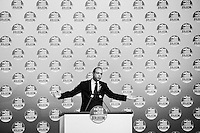 "ROME, ITALY - 24 JANUARY 2013:  Angelino Alfano, Secretary of Silvio Berlusconi's People of Freedom party (PdL, Popolo della Libertà), presents the PdL candidates for the upcoming general elections during a convention in Rome, on January 25, 2013.<br /> <br /> A general election to determine the 630 members of the Chamber of Deputies and the 315 elective members of the Senate, the two houses of the Italian parliament, will take place on 24–25 February 2013. The main candidates running for Prime Minister are Pierluigi Bersani (leader of the centre-left coalition ""Italy. Common Good""), former PM Mario Monti (leader of the centrist coalition ""With Monti for Italy"") and former PM Silvio Berlusconi (leader of the centre-right coalition).<br /> <br /> ###<br /> <br /> ROMA, ITALIA - 24 GENNAIO 2013: Angelino Alfano, segretario del Popolo della Libertà di Silvio Berlusconi,  presenta i candidati PdL alle prossime elezioni politiche, durante una convention a Roma il 24 gennaio 2013.<br /> <br /> Le elezioni politiche italiane del 2013 per il rinnovo dei due rami del Parlamento italiano – la Camera dei deputati e il Senato della Repubblica – si terranno domenica 24 e lunedì 25 febbraio 2013 a seguito dello scioglimento anticipato delle Camere avvenuto il 22 dicembre 2012, quattro mesi prima della conclusione naturale della XVI Legislatura. I principali candidate per la Presidenza del Consiglio sono Pierluigi Bersani (leader della coalizione di centro-sinistra ""Italia. Bene Comune""), il premier uscente Mario Monti (leader della coalizione di centro ""Con Monti per l'Italia"") e l'ex-premier Silvio Berlusconi (leader della coalizione di centro-destra).ROME, ITALY - 24 JANUARY 2013: Silvio Berlusconi, former PM and leader of The People of Freedom party, and Angelino Alfano, Secretary of the party, present the PdL candidates for the upcoming general elections during the PdL convention in Rome, on January 25, 2013.<br /> <br /> A general election to determine the 630 members of the Chamber of Deputies and the 315 elective members o"